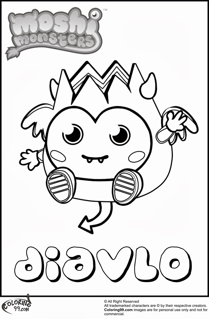 monsters coloring pages moshi monster diavlo coloring
