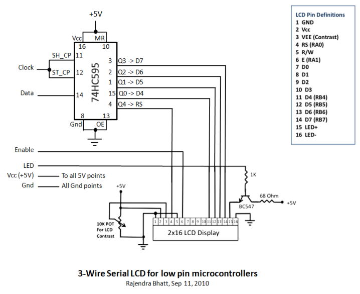 circuit diagram: 3 Wire Serial LCD Circuits using a Shift ...