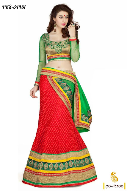 Karva Chauth and Diwali festival red georgette lehenga style saree online shopping at pavitraa.in
