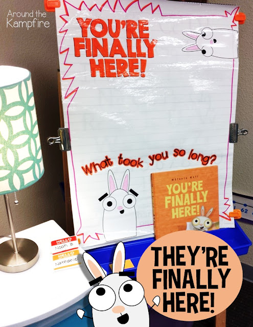 Hilarious back to school activities and first day anchor chart for Your're Finally Here by Melanie Watt