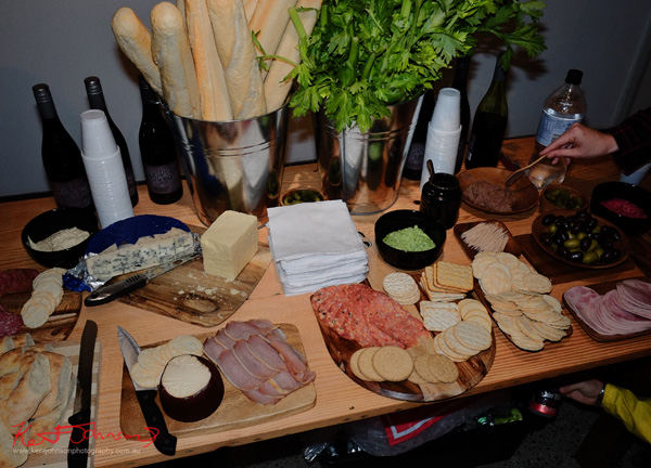 A great table of food and drinks at the launch party for Brand X Creative Retail Residency.