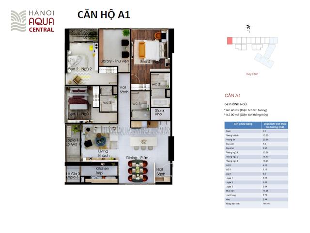 Mặt bằng chi tiế căn hộ A1