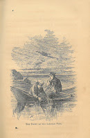 An engraving of Frank Nolan leaning out of a small boat to steal lobsters from a lobster-trap in the bay along with a partner in crime.
