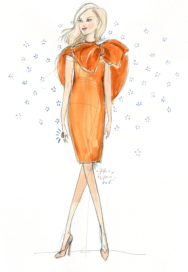 Kitty N. Wong / Orange Streetstyle Fashion Illustration