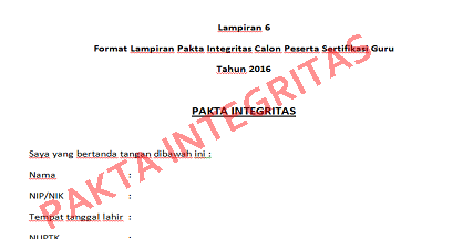 Pakta Integritas Calon Peserta Sertifikasi