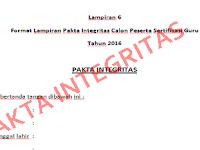 Download Pakta Integritas Calon Peserta Sertifikasi Guru 2016