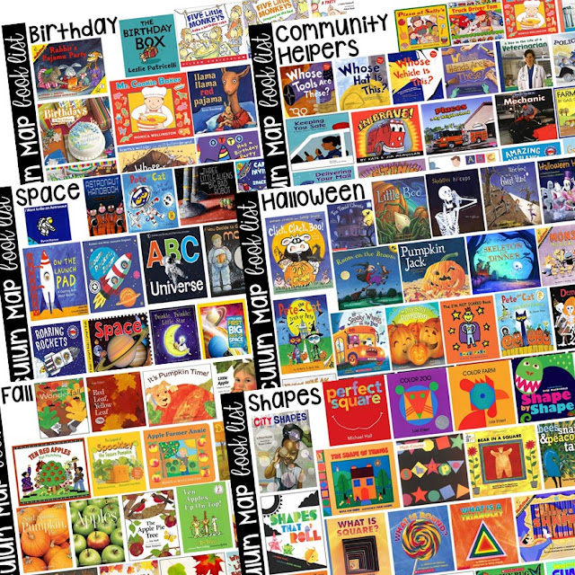 Themed book lists with a Curriculum Map (Preschool, Pre-K, and Kindergarten) for the whole year! Year plan, month plans, and week plans by theme.  Summer months too!
