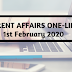 Current Affairs One-Liner: 1st February 2020