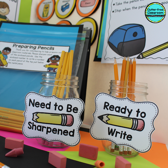Are you in need of classroom management strategies for pencils in the classroom? Try out these Clutter Free Classroom solutions, tips, and routines for your pencil challenges! No more trying to track pencils in desks! #classroommanagement #clutterfreeclassroom