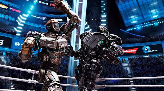 Uno de los combates entre el robot protagonista, Noise-Boy (izqda) y Zeus, el campeón (dcha)
