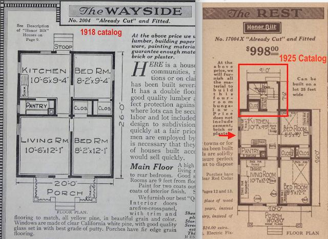 side-by-side comparison of 1918 floorplan of Sears Wayside vs 1925 floorplan of Sears Rest