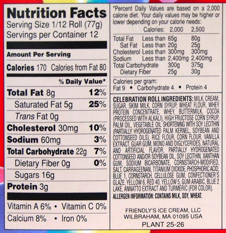 Friendlys Ice Cream Cake Nutrition Facts
