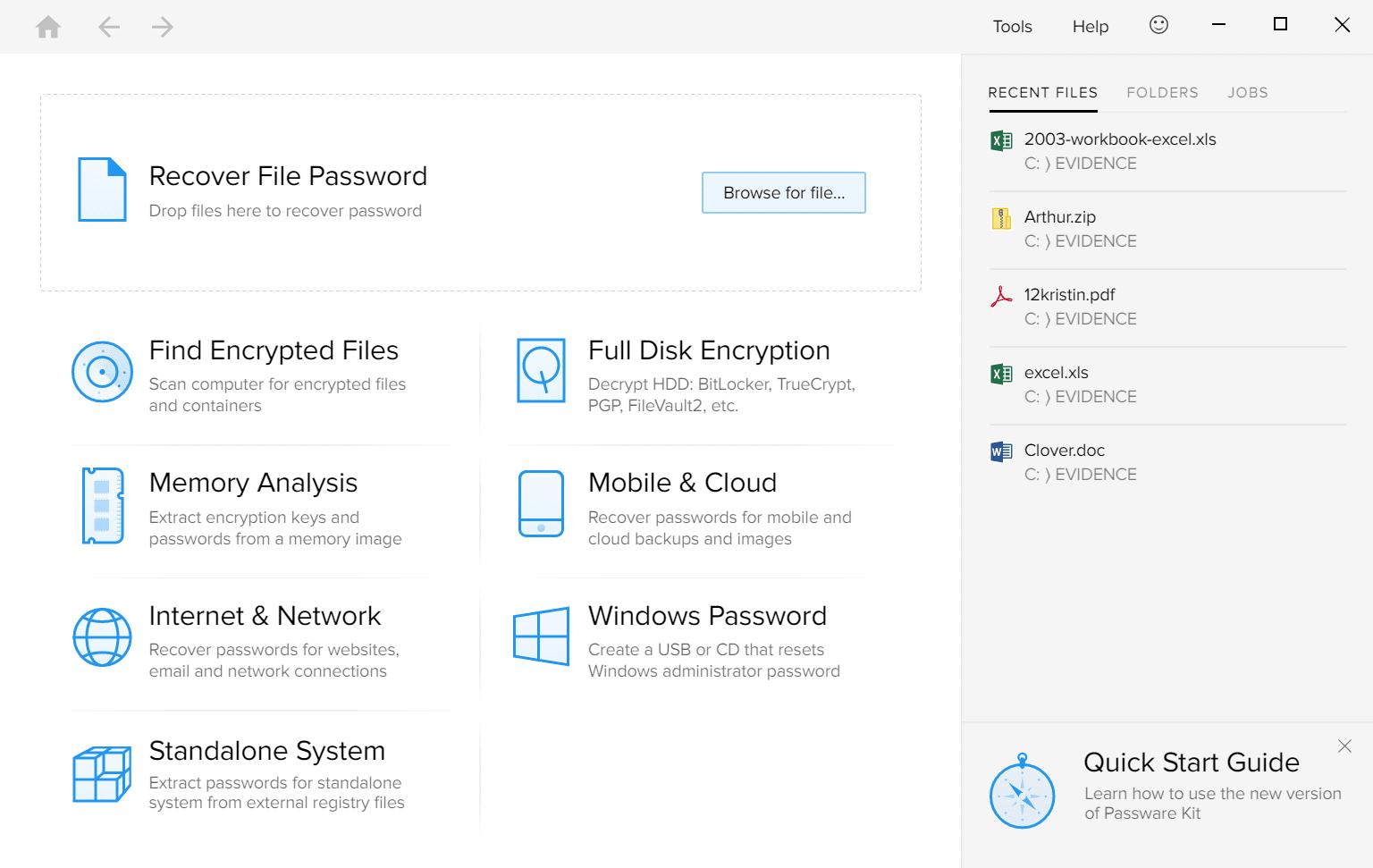 Passware Kit Forensic Main Interface Screenshot