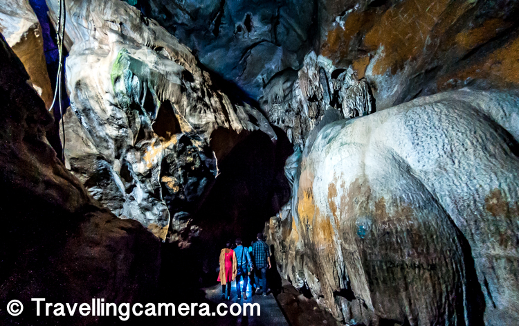 As I entered into the caves, I saw these colorful lights all around and I found it very disgusting till I came across some corners of the caves where I could notice that some of the portions looked better in one color than the other.