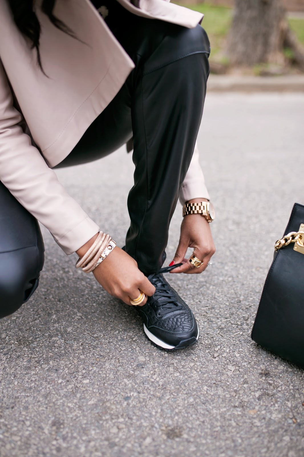 athleisure-fashion blogger- dallas blogger- nike air pegasus rose gold- rose gold shoes- athletic shoes- stylish athletic shoes- stylish sneakers- leather leggings- blush pink leather jacket- holy chic top- brown girl blogger- detroit blogger