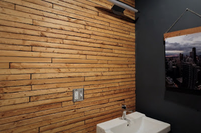 DIY wood lath stain easy bathroom