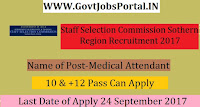 Staff Selection Commission Sothern Region Recruitment 2017– 66 Medical Attendant, Lady Medical Attendant