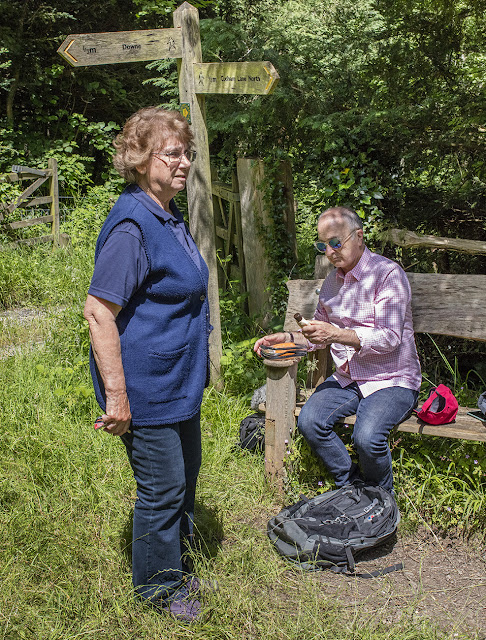 Irene Palmer and Tony Robinson before filming on Downe Bank.  6 July 2016.