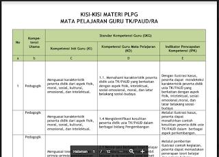 kisi kisi plpg tk/ paud/ ra 2017 pedagogik dan profesional