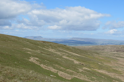 A long-distance view of Pen-y-Ghent and Fountains Fell across moorland on the horizon.