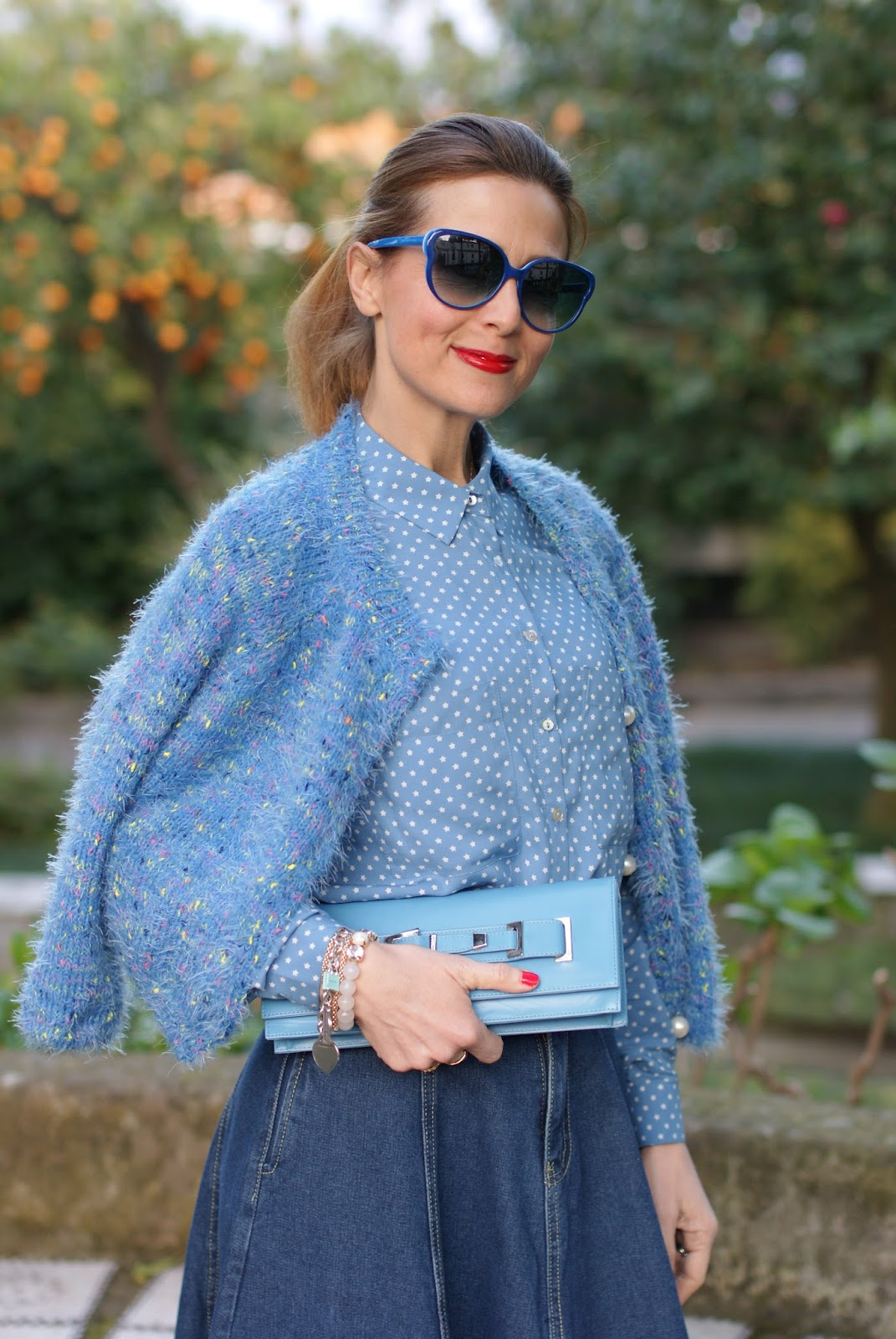 Stradivarius star print shirt on Fashion and Cookies fashion blog, fashion blogger style