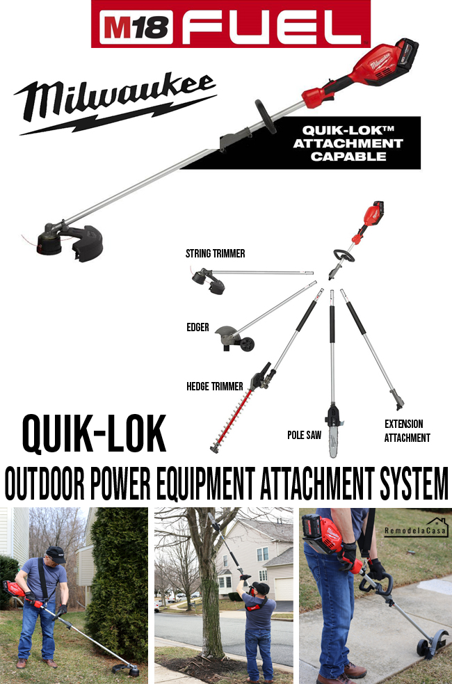 Taking care of your yard with the Quik-Lok Milwaukee system - Trimmer, pole saw, edger