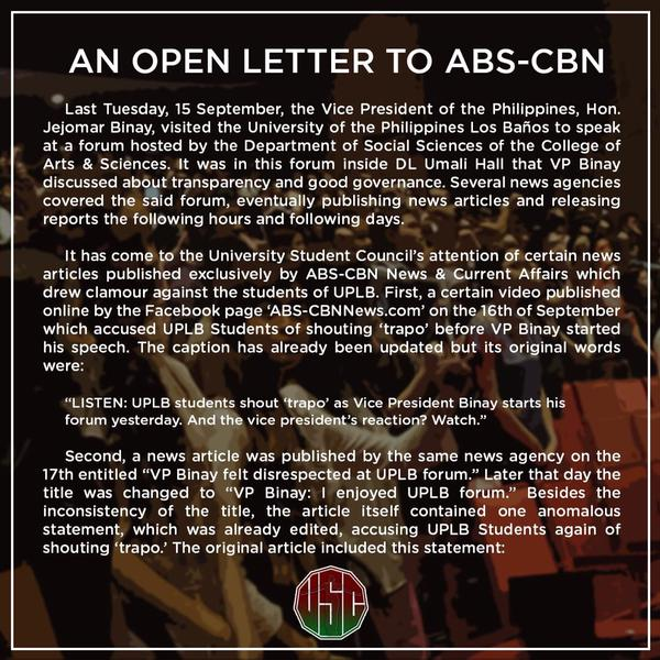 UPLB Open Letter to ABS-CBN