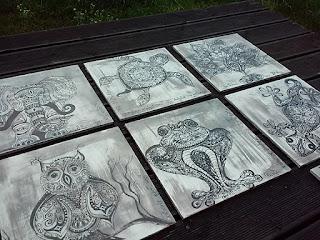 ręcznie malowane podkładki pod talerze drewno zwierzęta słoń żółw jaszczurka sowa paw