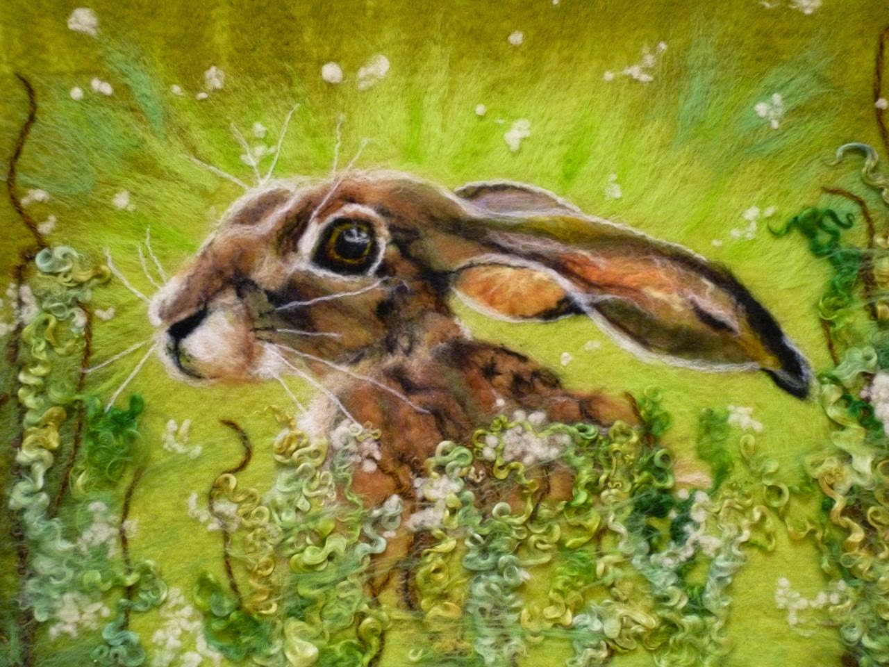 Wet felted hare 1
