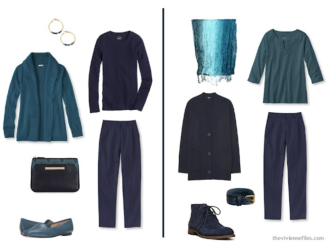 two outfits that combine teal and navy