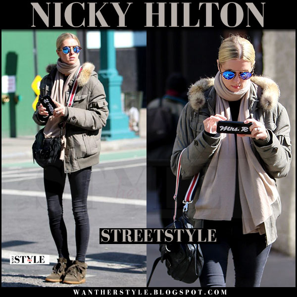 Nicky Hilton in green jacket and green suede wedge sneakers isabel marant bobby what she wore street style 2017