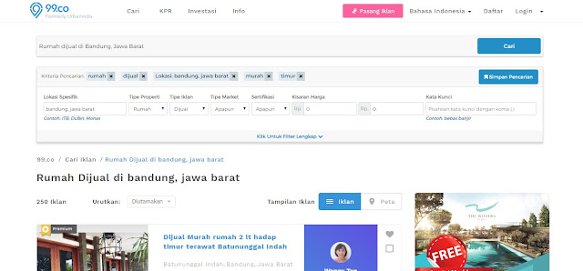 tampilan website 99 co Indonesia