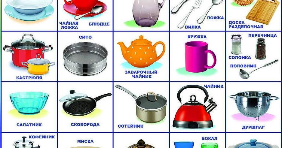 Предметы посуды фото с названием