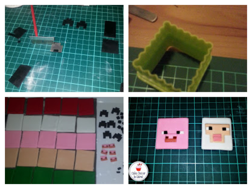 Making Minecraft / Mine Craft Toppers with Fondant