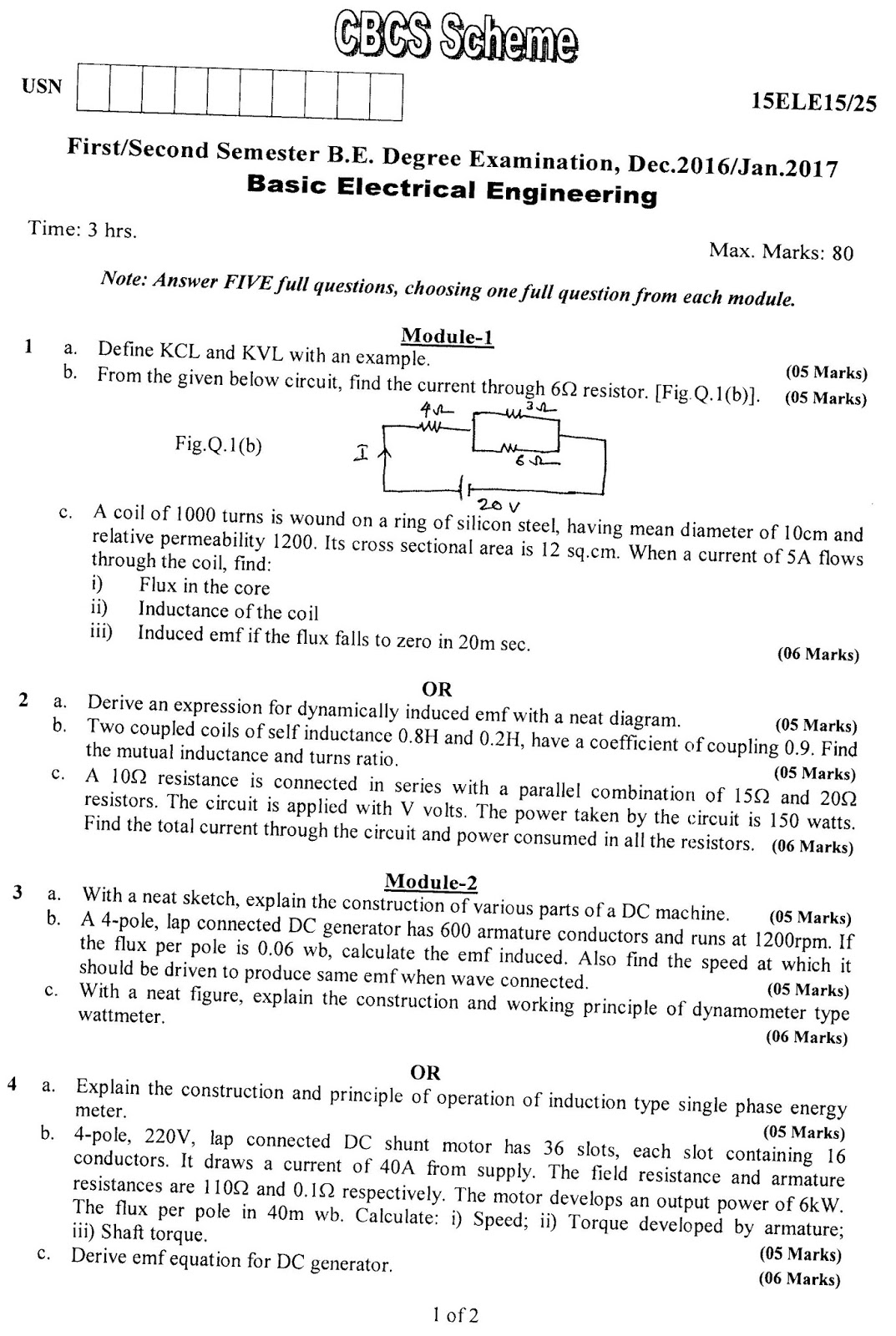 e-Paatashala: VTU BE 1st Year Question Paper : BASIC ELECTRICAL ...