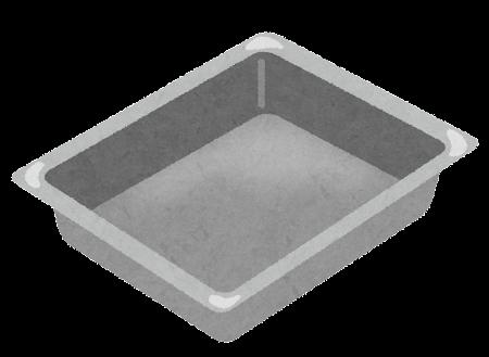 四角いバット・トレイのイラスト