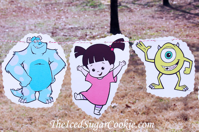 Monsters Inc Birthday Party DIY Idea  Flag Bunting Banner Garland