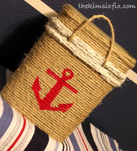rope basket with stencil