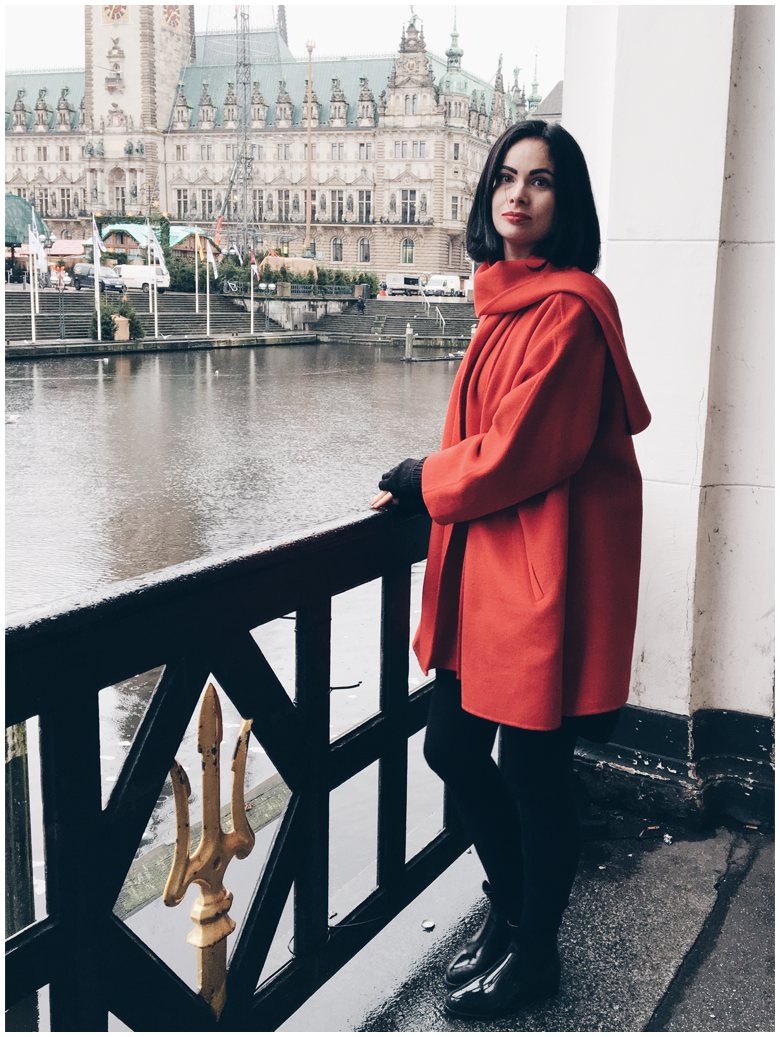 winter fashion, style, outfit, red zara coat, black zara leggings, black lemon jelly Chelsea boots
