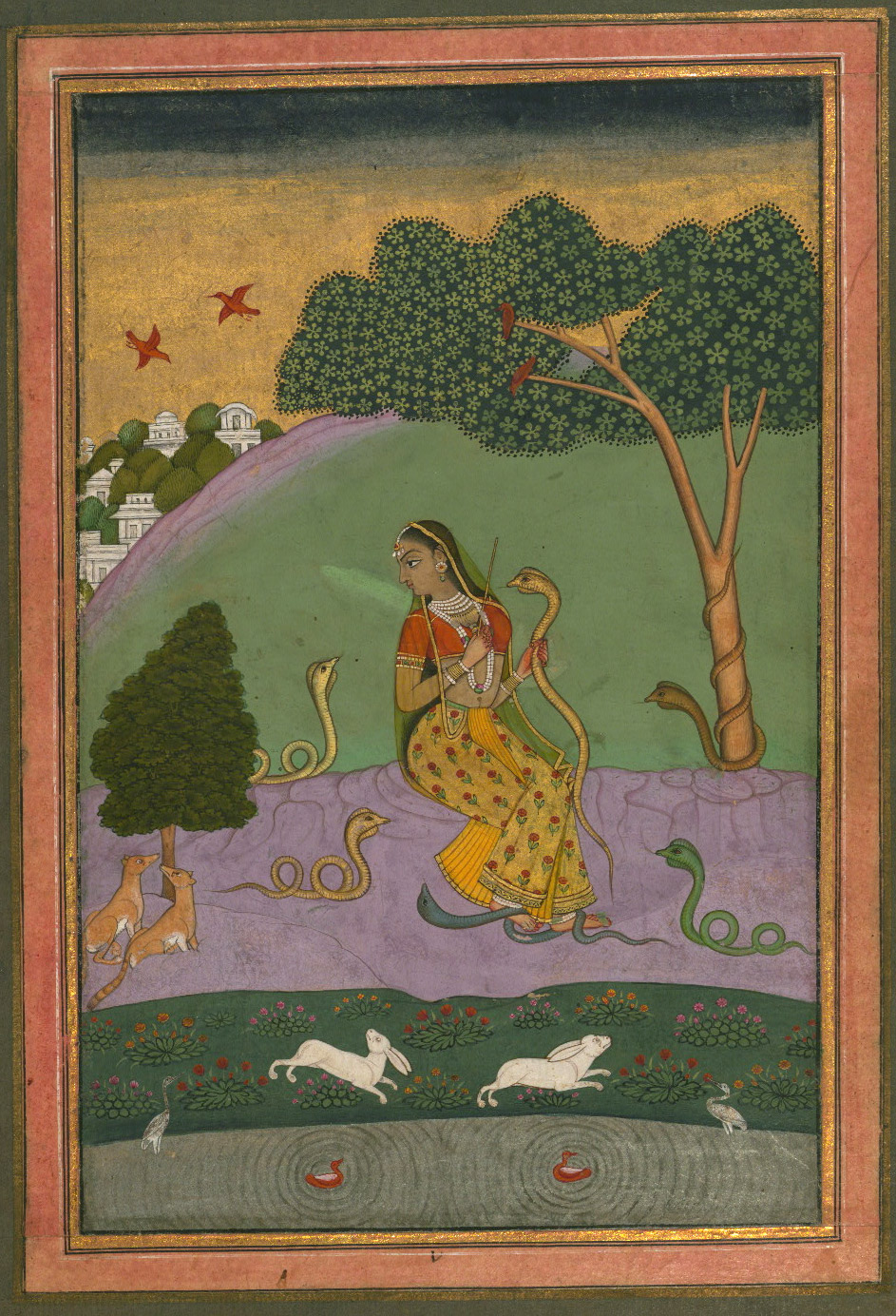 Asavari Ragini - Miniature Painting, Ragamala series, 19th Century