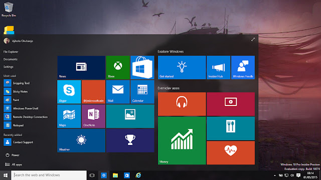 Fitur Windows 10: Start menu