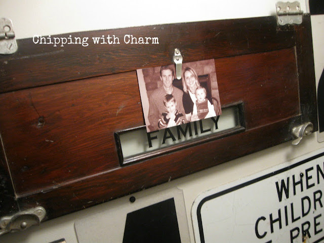 Chipping with Charm: Reurposed Chicken Feeder Photo Holder by Signs of the Times...www.chippingwithcharm.blogspot.com