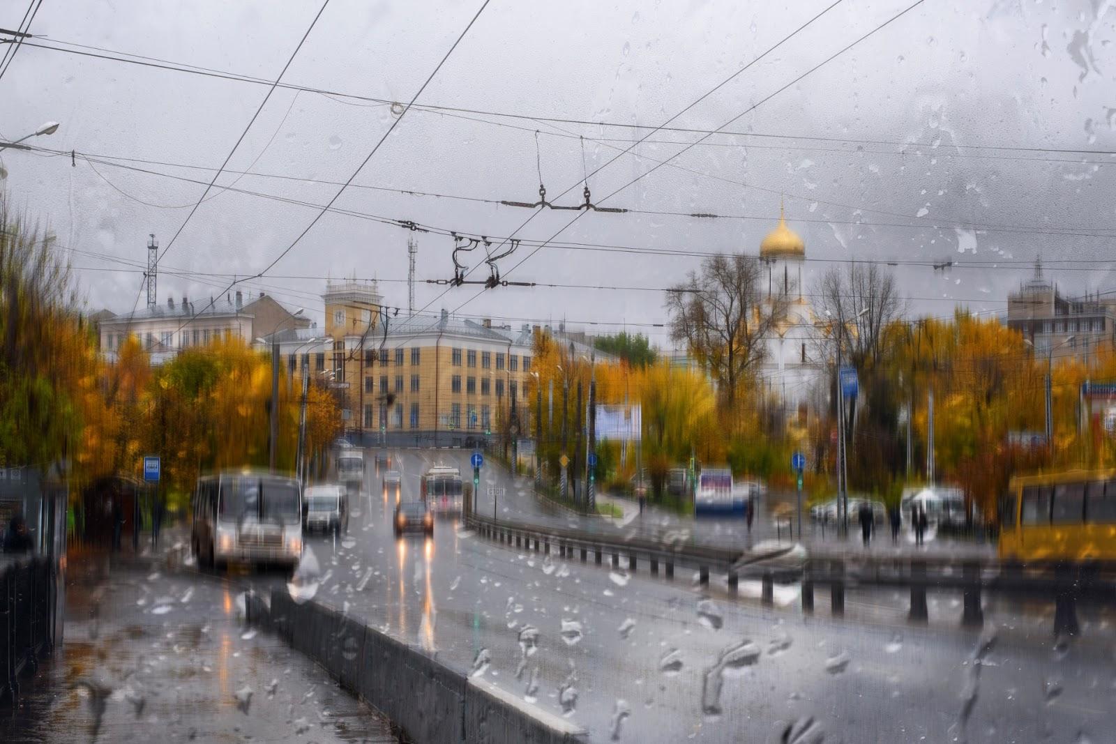 Площадь Пушкина в дождь. Иваново
