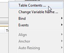"""Clic en la opción """"Table Contents"""""""
