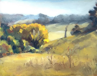 Landscape oil painting of trees in a valley with distant hills.
