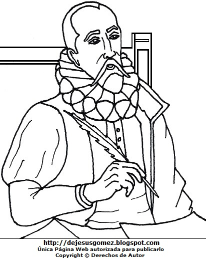 Dibujo de Miguel de Cervantes Saavedra para colorear, pintar e imprimir para niños. Dibujo de Miguel de Cervantes Saavedra hecho por Jesus Gómez