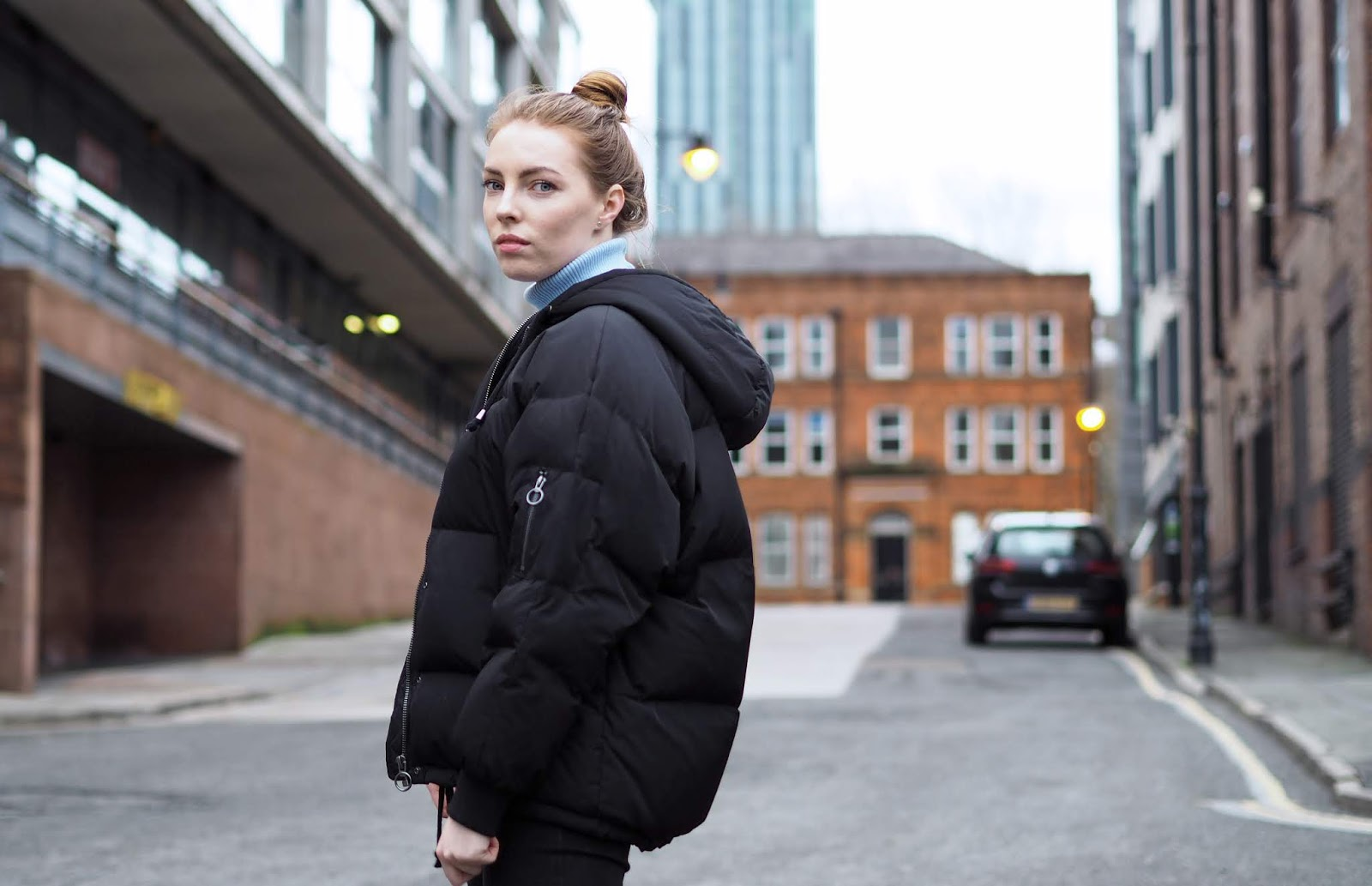 topshop puffer jacket ribbed roll neck