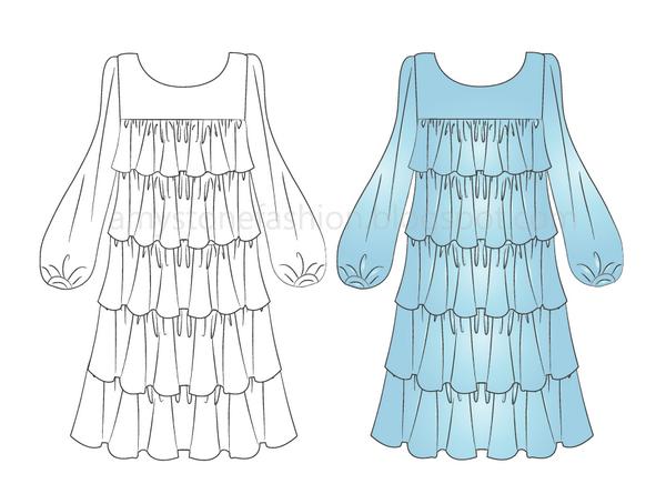 Amy Stone Fashion Flat Sketches: Multi-Layered Dress Flat Technical ...