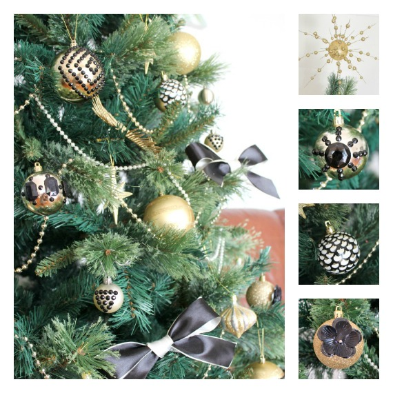 chrictmas tree with black and gold ornaments bows glitter shiny ornaments diy