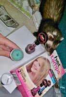ferret playing with glitter makeup beautiful hair HotStamps glittery fun girly girl